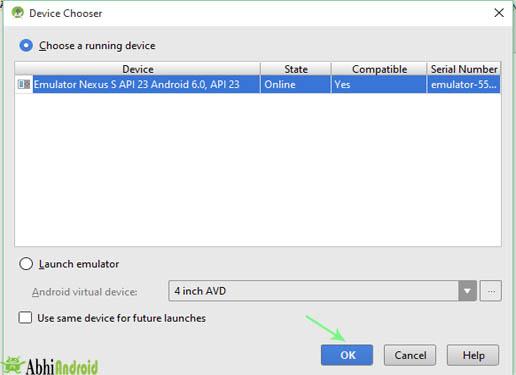 Choose Device in AVD