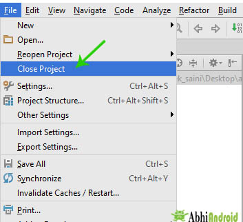 Close project in android studio