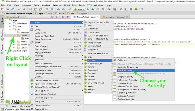 Create Activity in android studio