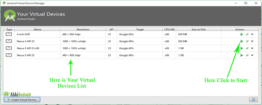 Here is Your Virtual Devices List