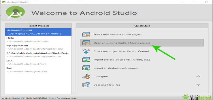 Open an existing Android Studio project in android studio