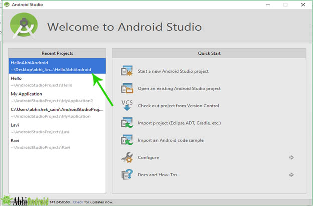 Recent Projects in android studio