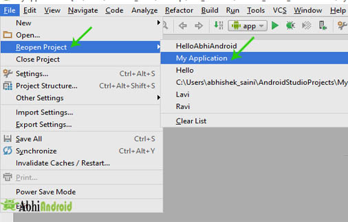 When reopen project in android studio