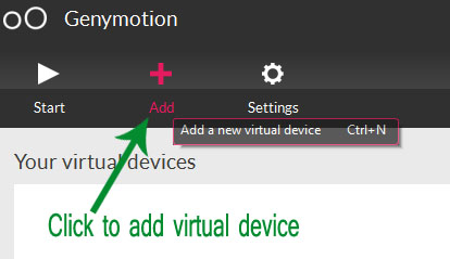 Add Virtual Device in Genymotion
