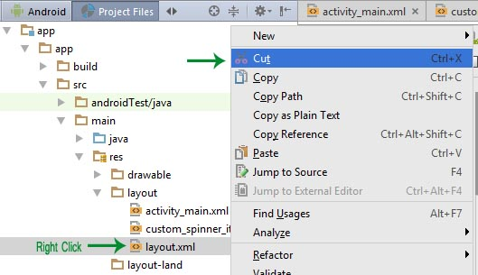 Cut layout xml android studio