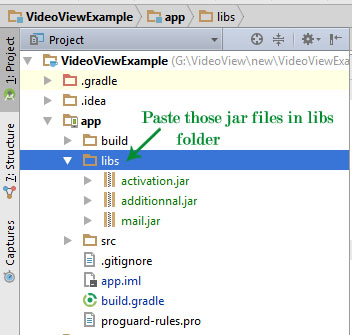 Paste jar files in Libs folder Android Studio