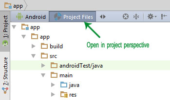 Project perspective Android Studio