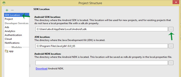 SDK location change in Android Studio