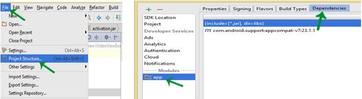 dependencies in Android Studio