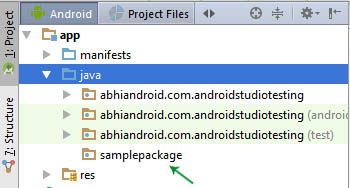 new package created in JAVA Android Studio