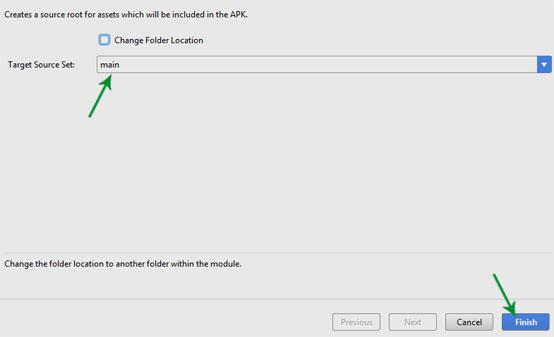 target source set main in Assets Folder
