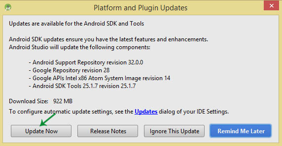 update android studio manually