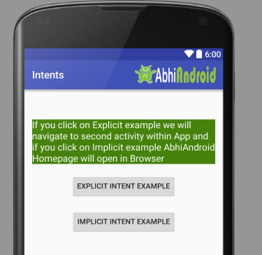 Implicit And Explicit Intent Example Output in Android