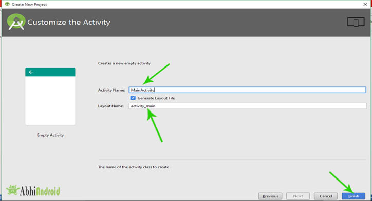 Customize-Create the Activity in android studio