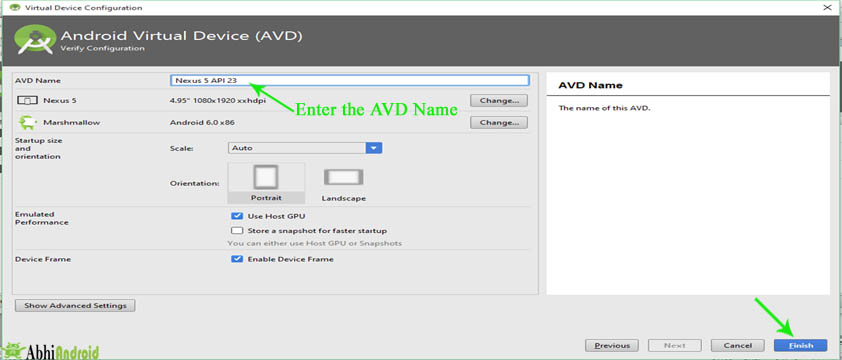 Enter the AVD Name