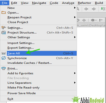 Save All the project in android studio