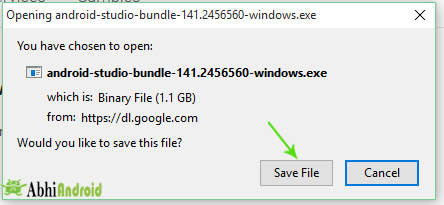 Save file in your system of Android studio
