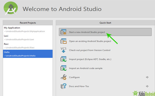 start a new project in android studio
