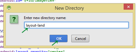 layout-land directory in res folder android studio