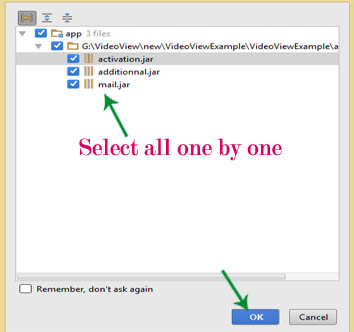 select jar files and click ok android studio