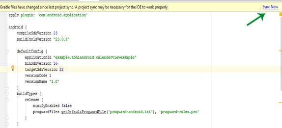 sync now change api sdk android studio