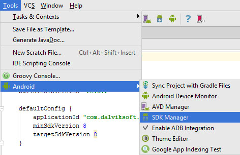 sdk manager inside tools android studio