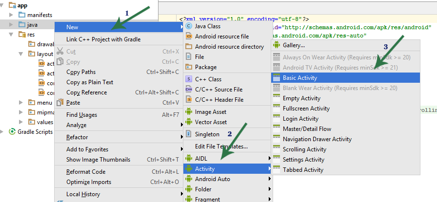 Basic Activity In Android Studio