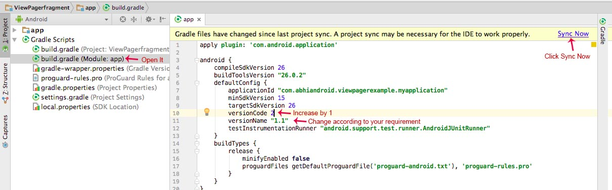 Change version code version name android studio