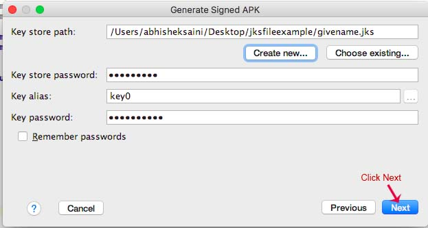 Generate Signed apk android