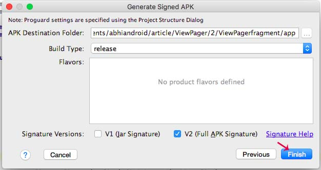 Finish generate signed apk android studio