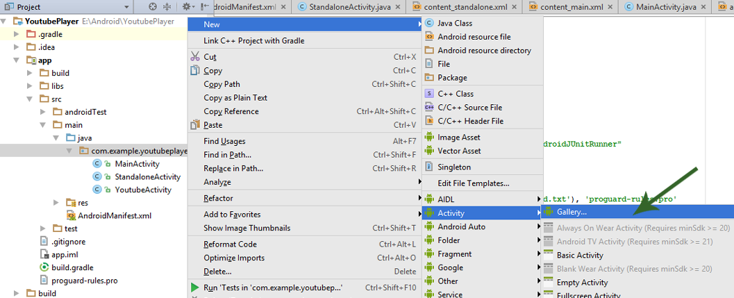Adding Gallery Layout In Android Studio.pxr