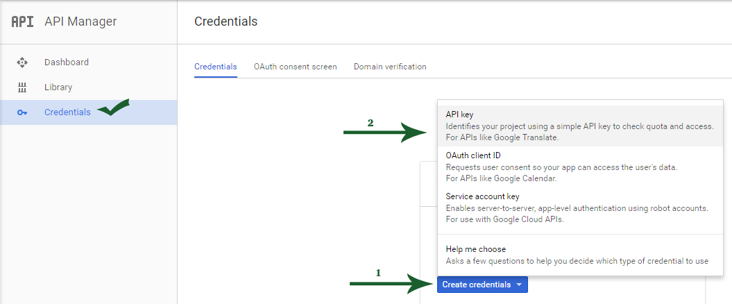 Create Credentials In Google Developers Console