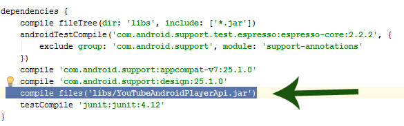 Adding YouTube Dependency To Android Studio