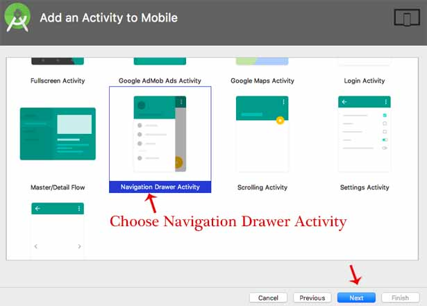 Choose Navigation Drawer Android Animations