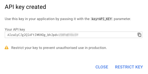 Google-Map-api-key-created