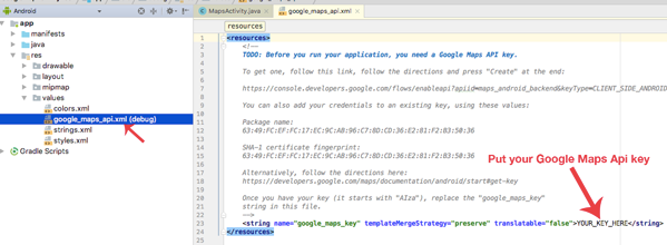Google-Maps-API-xml-android-studio
