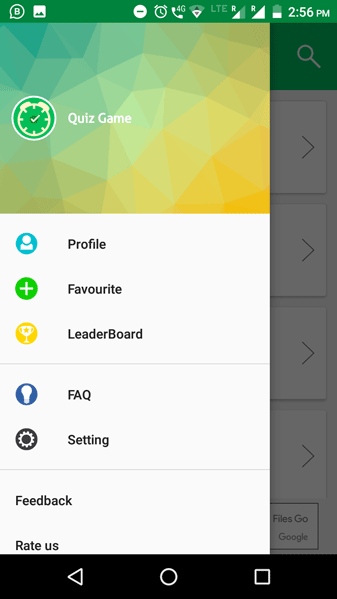 Quiz Game App Navigation Drawer Screenshot