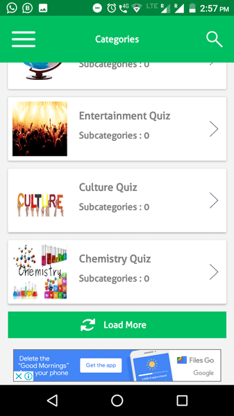 Quiz Game App Pagination Screenshot