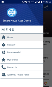 Navigation Drawer Menu news app