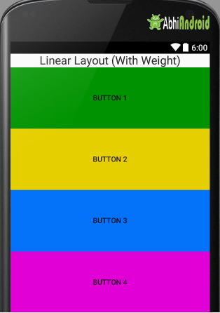 Linear Layout with weight in Android Example 2