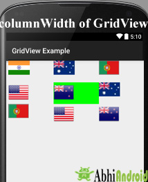 column Width in Grid View android
