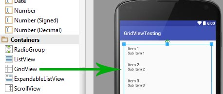 GridView in Android Studio