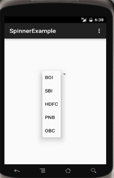 Spinner Example in Android Using ArrayAdapter
