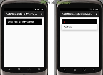 AutoCompleteTextView Example in Android Studio
