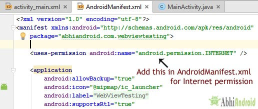 Intenet Permission AndroidManifest Code For WebView