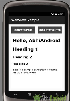 WebView Example Output Android