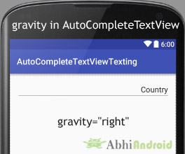 gravity in AutoCompleteTextView Android