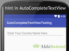 hint in AutoCompleteTextView in Android
