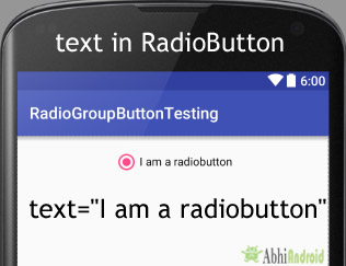 text attribute in RadioButton Android