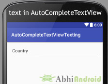 text in AutoCompleteTextView